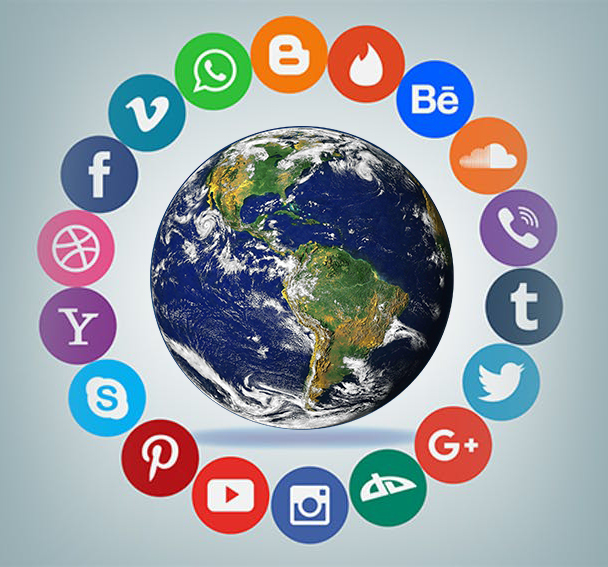 Digital Citizenship, Earth surrounded by social media icons