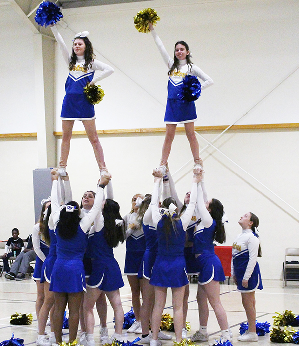 Cheerleaders in a pyramid